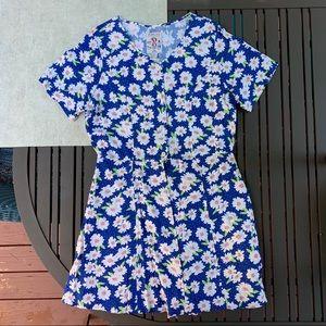 Vintage Blue Daisy Dress Jumper  Romper w/ Buttons